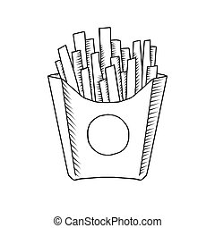 vector illustration of an isolated cartoon hand drawn french fries
