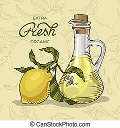 Lemon branch with fruit and carafe of juice - Vector...