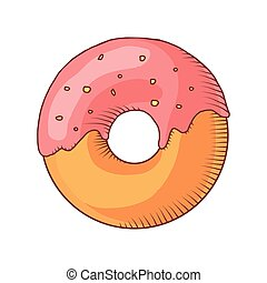 Glazed ring doughnut, detailed vector - Glazed ring...