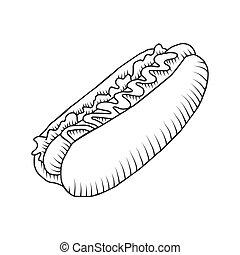 Vector hotdog with mustard. Isolated - Vector hotdog with...