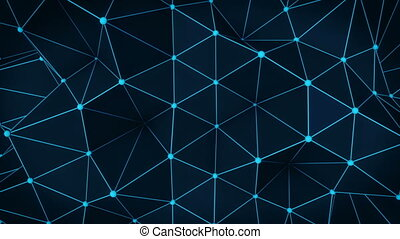 Polygonal glowing blue surface. Abstract 3D render loop