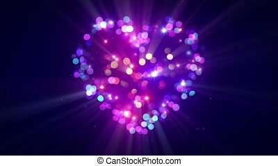 Colorful heart shape disco flashing loopable animation