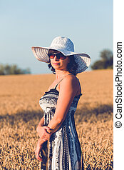 Middle aged beauty woman in wheat field - Middle aged beauty...