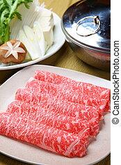 shabu shabu with fresh beef - close up shot of shabu shabu...