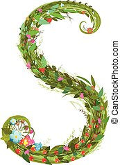 Letter S floral latin decorative character alphabet...