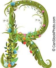 Letter R floral latin decorative character alphabet...