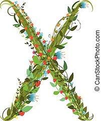 Alphabet letter X elegant flower blooming botanical sign -...