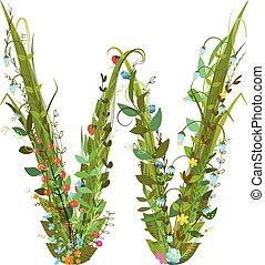 Alphabet letter W elegant flower blooming botanical sign -...