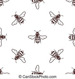 Honeybees vector seamless light pattern