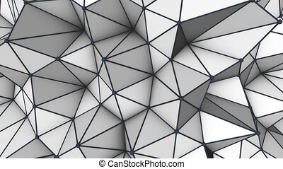 Grey low poly 3D surface. Futuristic loopable animation. -...