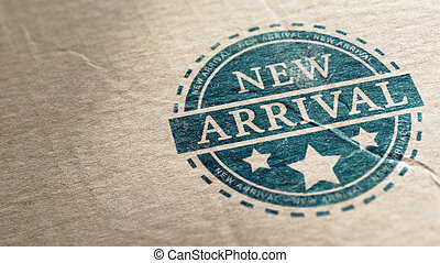 New Arrival - New arrival stamp over a cardboard background,...