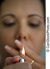 Smoking woman with a cigare - A woman with a smoking...