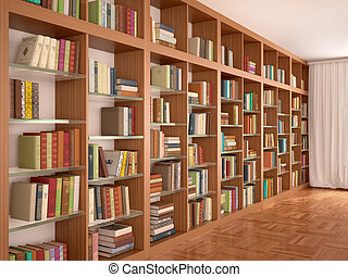 Wooden and glass shelves with different books. Library. 3d...