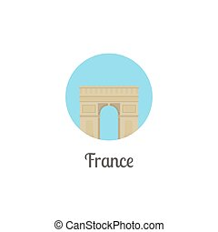 France arch landmark isolated round icon Vector illustration...