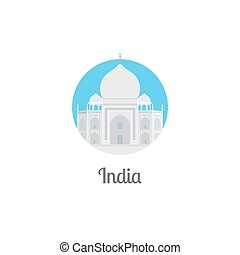 India landmark isolated round icon. Vector illustration