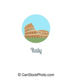 Italy landmark isolated round icon Vector illustration