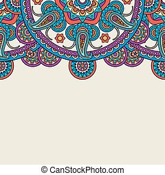 Indian paisley doodle upper border