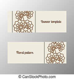 Horizontal banner template with flowers - Horizontal banner...
