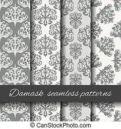 Seamless damask beige pattern set.
