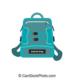 Blue bag school backpack isolated on white background Flat...