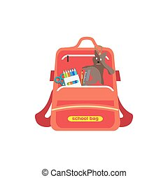 Red bag school backpack isolated for girl on white...