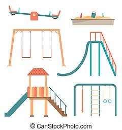 Kids playground flat cartoon set with swing carousels slides...