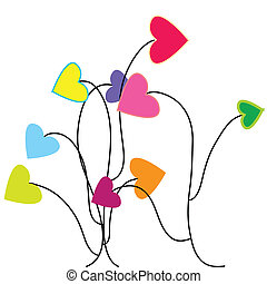 Abstract foliage with hearts