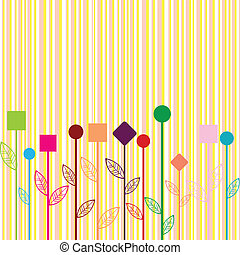 Background with colored stylizewd flowers made of geometrical shapes
