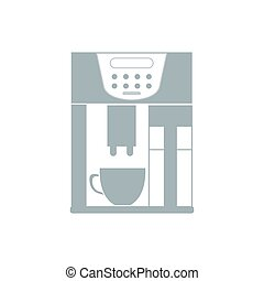 Stylized icon of a colored coffee machine