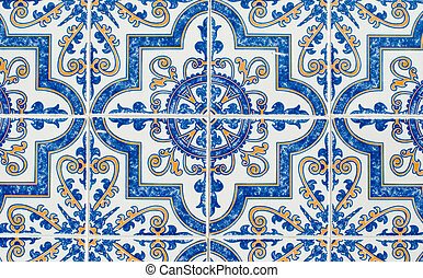 Portuguese glazed tiles 233 - Detail of Portuguese glazed...