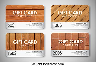 set of wooden gift cards