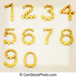 Set of the numbers 1,2,3,4,5,6,7,8,9,0 of gold coins with dollar sign. 3D illustration. Vintage style.