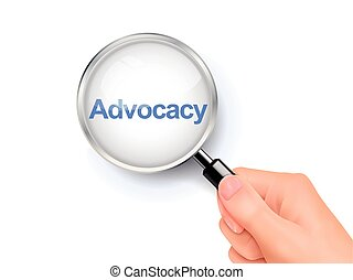 magnify glass of advocacy - 3D illustration of magnifying...
