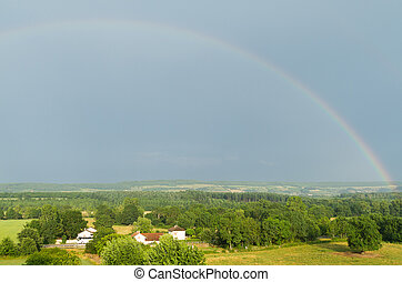 Landscape with a rainbow in France . - Beautiful landscape...