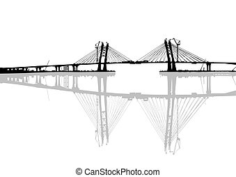 Modern bridge on white - Large modern bridge on a white...
