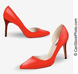 Fashion women's red high-heeled shoes. Pair of red high...
