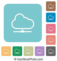 Flat cloud network icons on rounded square color...