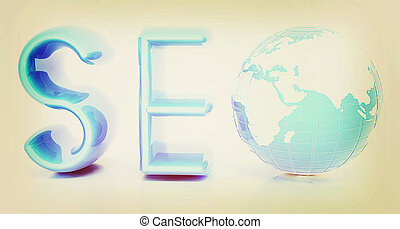 3d illustration of text SEO with earth globe, symbol 3D...