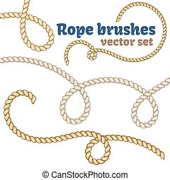 Rope brushes set. Realistic vector design.