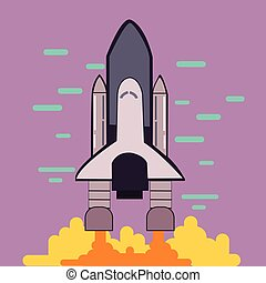 rocket launch space shuttle take off flat line style illustration