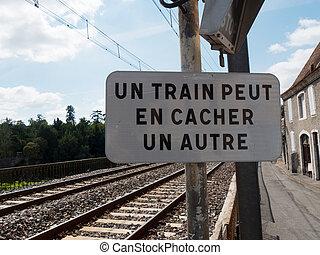 french railway traffic sign - a french railway traffic sign