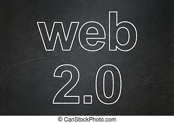 Web development concept: Web 20 on chalkboard background -...