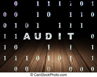 Business concept: Audit in grunge dark room