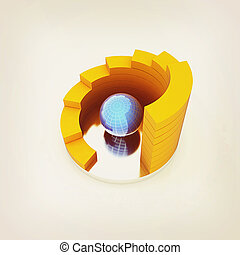Abstract structure with blue bal in the center 3D...