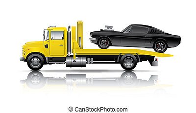 yellow truck towing black muscle car