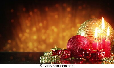 christmas decorations and golden glitters