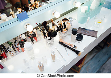 accessories of make-up artist and stylist