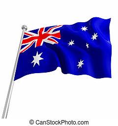 australia 3d flag on white background