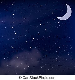 Cloudy night sky as a background, vector illustration