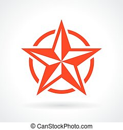 Red star icon isolated on white background